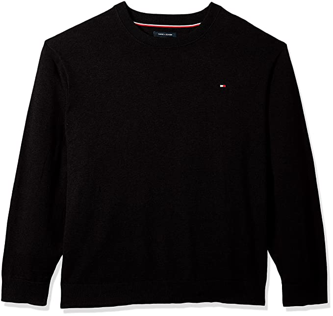b7e3a9161 Tommy Hilfiger Men's Big and Tall Sweater Signature Solid Crewneck, deep  Knit Black, BG