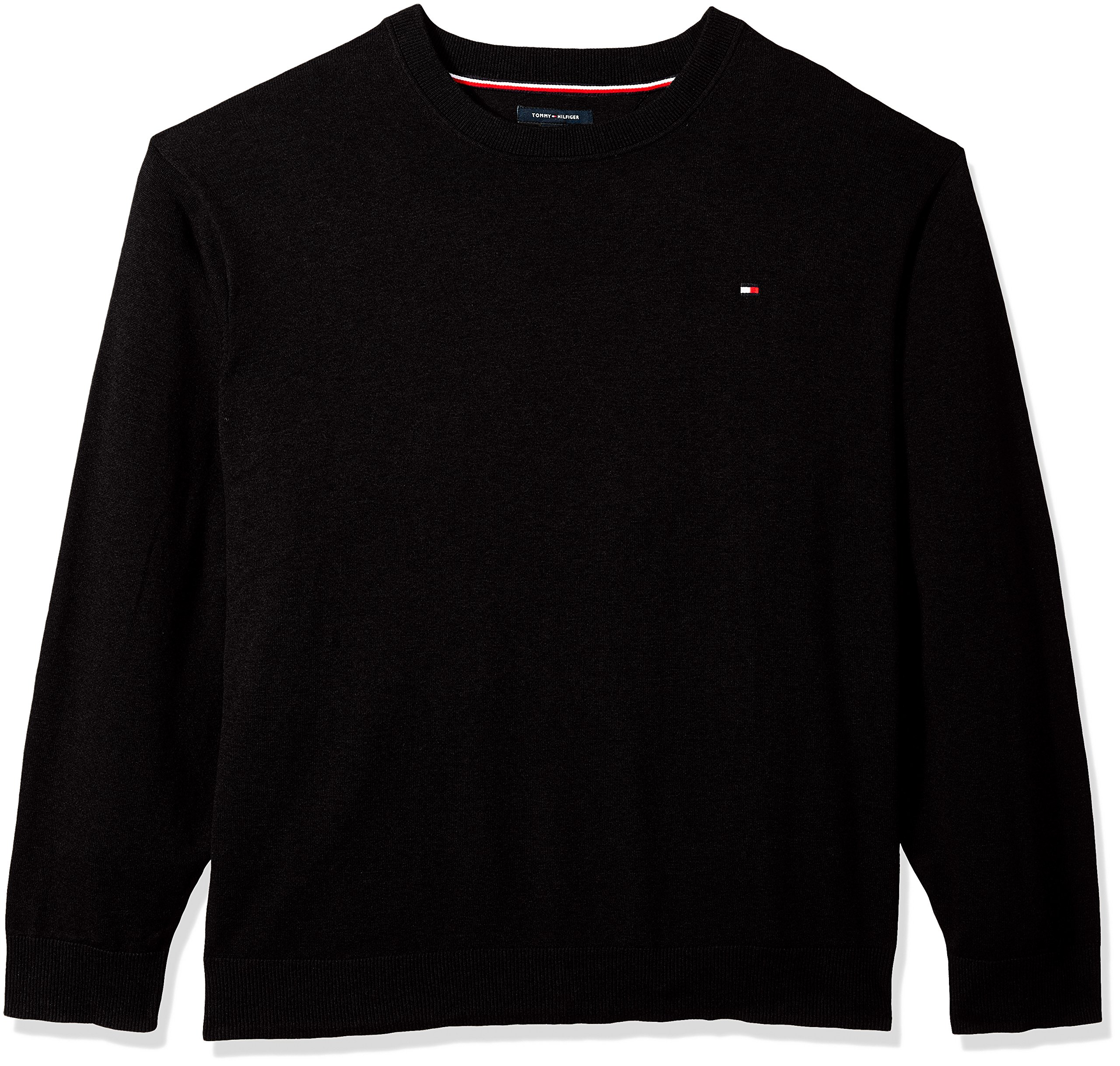Tommy Hilfiger Men's Big and Tall Sweater Signature Solid Crewneck, Deep Knit Black, TL-L