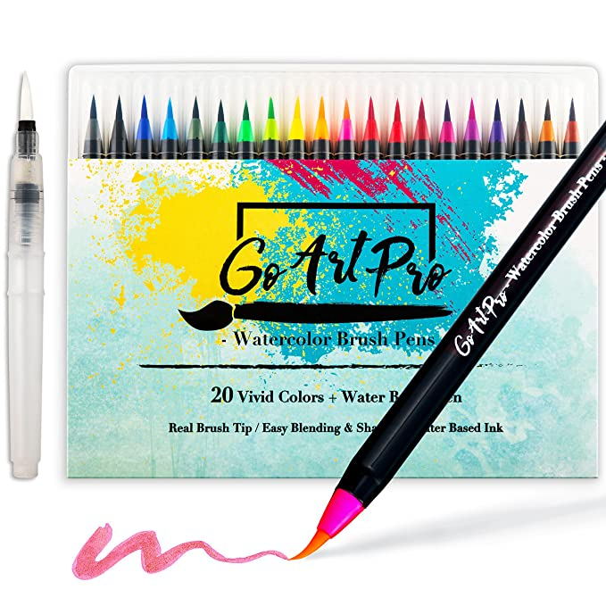 Watercolor Brush Pens by GoArtPro | Set of 20 Color Soft Flexible Real Brush Pens + BONUS Watercolor Pen | Brush Tip Markers for Adult Coloring Books, Manga, Comic, Calligraphy
