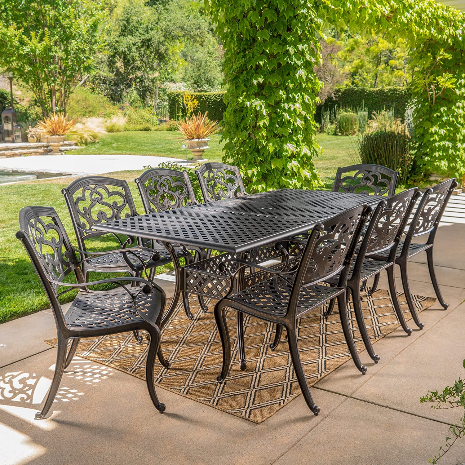Christopher Knight Patio Furniture.Christopher Knight Home 300676 Ariel 9 Piece Outdoor Cast Aluminum Dining Set Rectangle Perfect For Pat