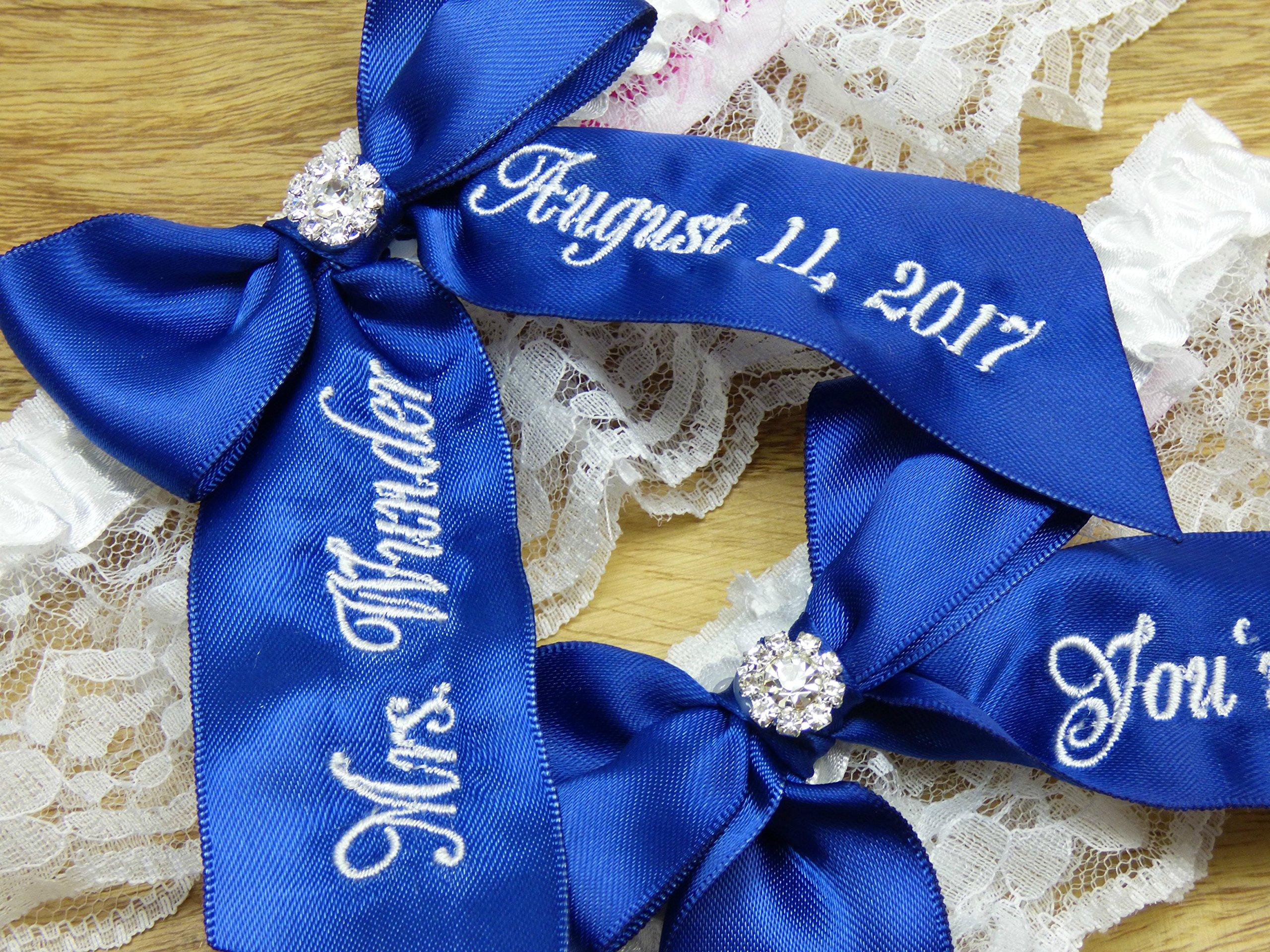 Navy Blue Bridal Garter, Nice Catch - You're Next Wedding Garter Set, Custom Garters, Something Blue