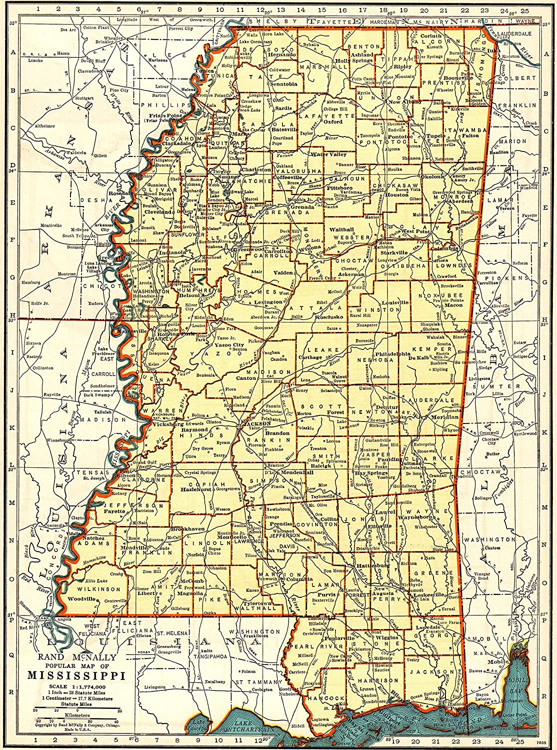 1939 Antique Mississippi State Map Original Vintage Map of Mississippi Print Not a Reprint Home Office Decor Gallery Wall Art #1176