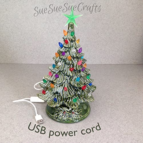 usb powered christmas tree ceramic christmas decoration 11 inches tall green glazed green
