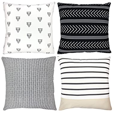 Woven Nook Decorative Throw Pillow Covers ONLY for Couch, Sofa, or Bed Set of 4 18 x 18 inch Modern Quality Design 100% Cotton Stripes Geometric Atlas Set