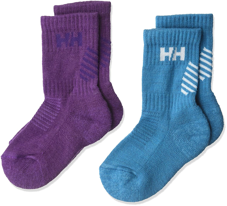Helly Hansen Kid's He Warm Socks(2 Pack), Winter Aqua/Sunburned, Size 32-35 68066