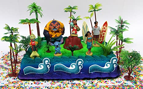 Lilo and Stitch 20 Piece Birthday Cake Topper Set Featuring Lilo and Stitch Figures and Decorative Themed Accessories
