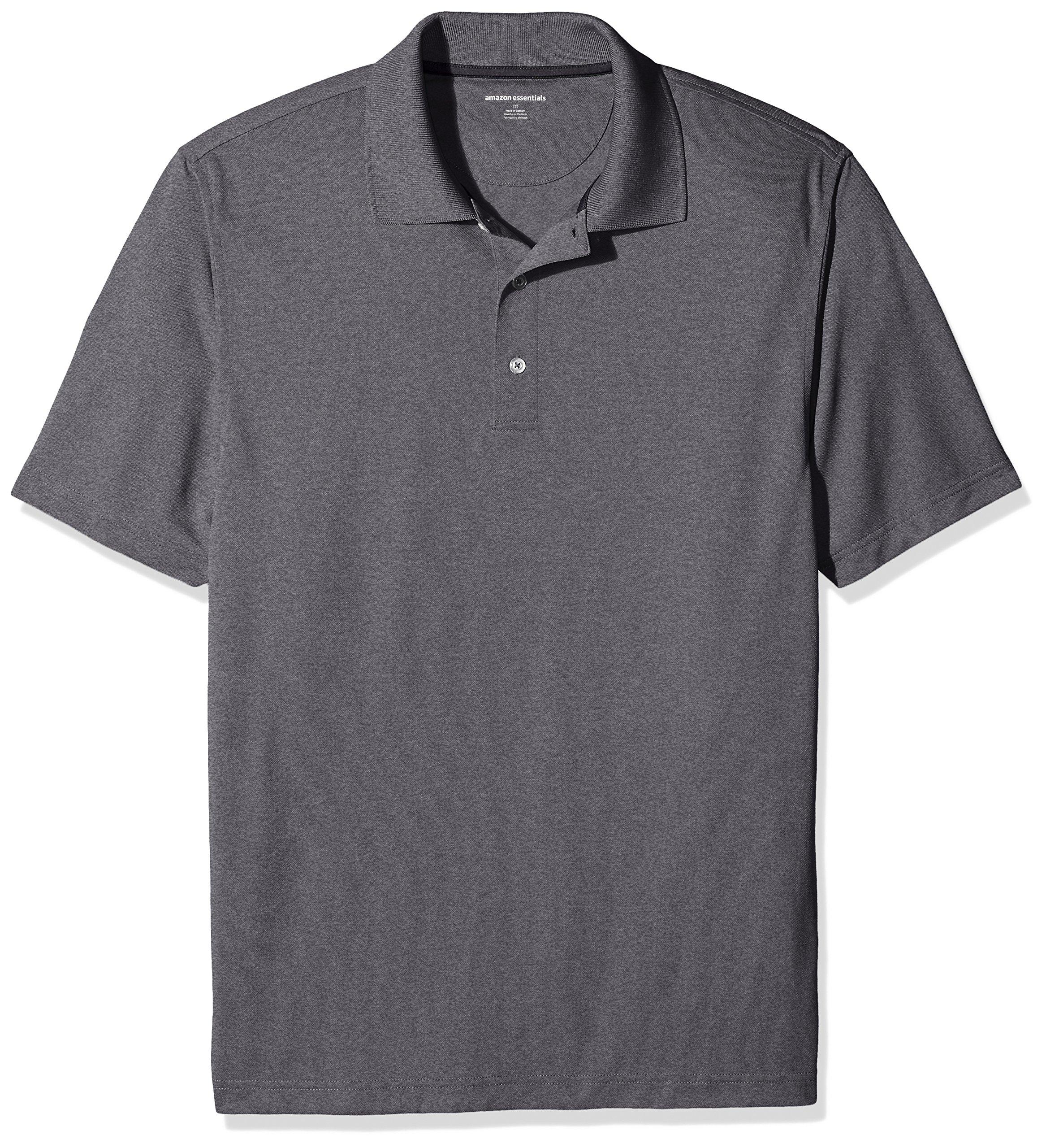 Amazon Essentials Men's Regular-Fit Quick-Dry Golf Polo Shirt, Medium Heather Grey, X-Small by Amazon Essentials