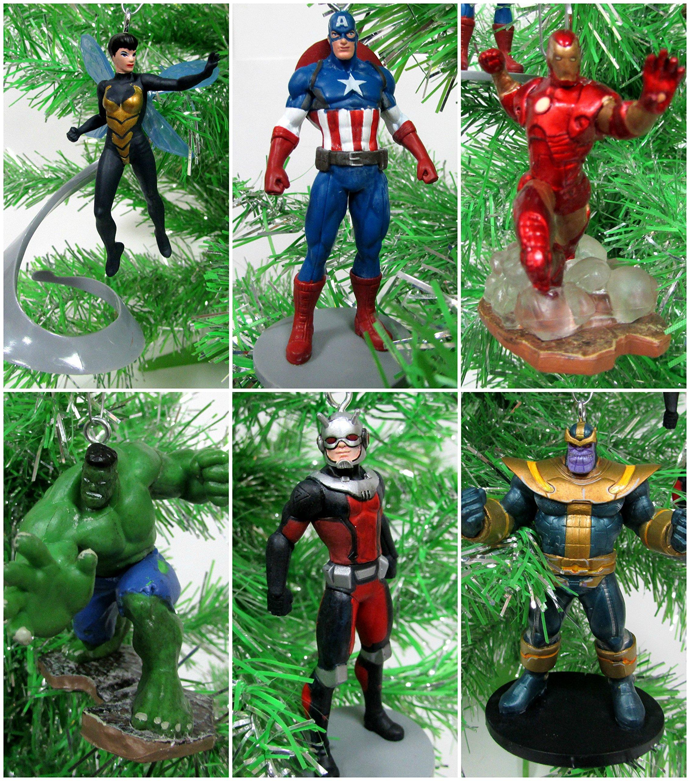 Marvel Avengers Super Hero 6 Piece Christmas Tree Ornament Set Featuring Ant-Man, Wasp, Thanos, Hulk, Captain America and Iron Man