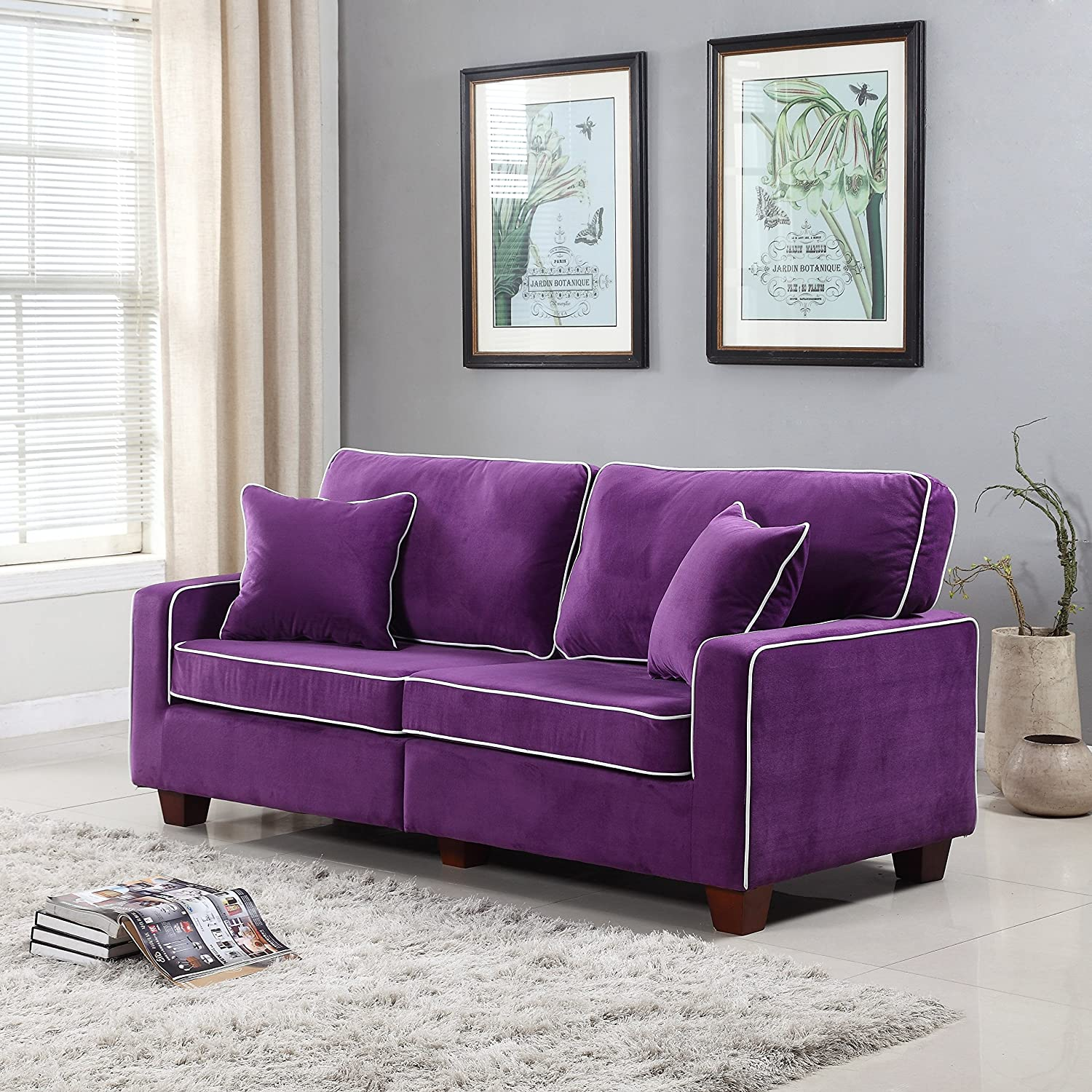 Contemporary ideas purple living room furniture incredible for Furniture collection