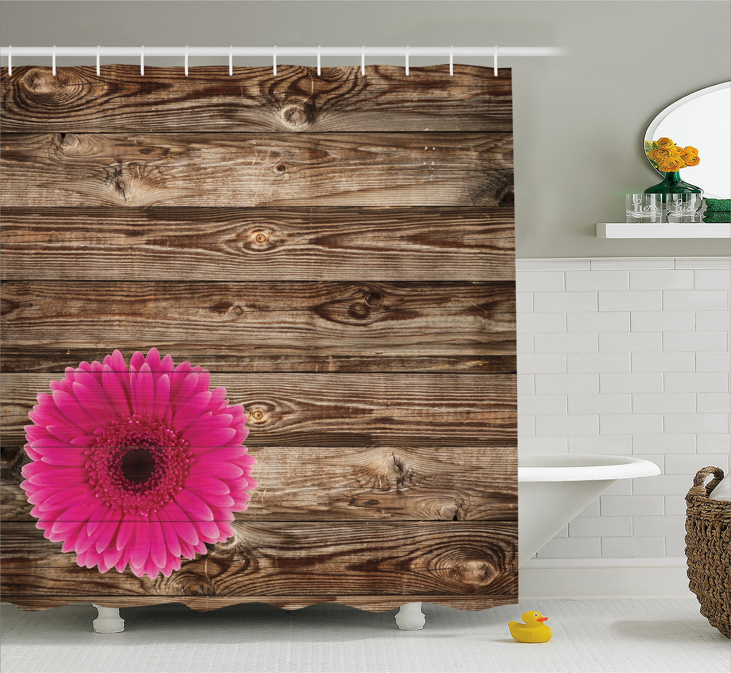 Ambesonne Rustic Home Decor Shower Curtain Set, Pink Daisy Blossom on Vintage Wood Wall Picture Gerbera Flower Farm Country Style, Bathroom Accessories Collection, Polyester Fabric,Brown Fuschia