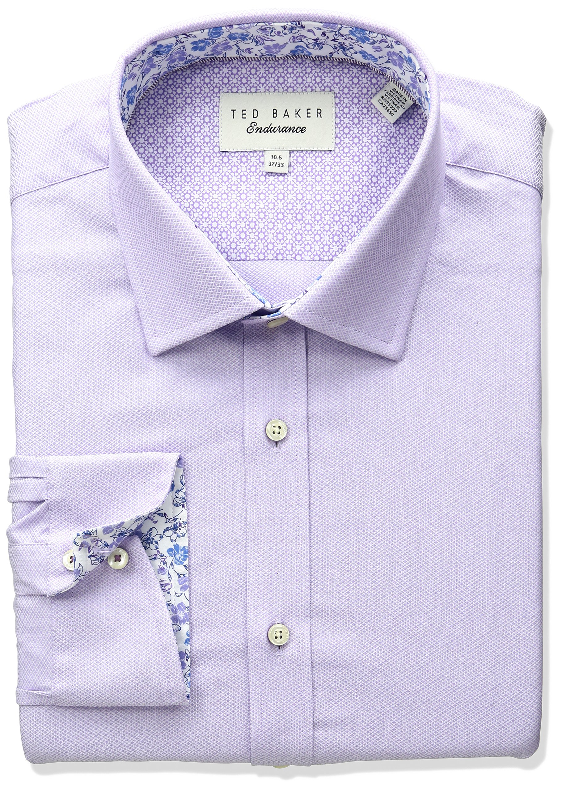 Ted Baker Men's Slim Fit Elias Solid Dress Shirt, Purple, 16.5'' Neck 34''-35'' Sleeve