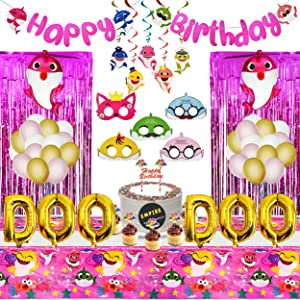 Shark Party Supplies for Baby | Shark Theme Birthday Party Decorations for Kids | Shark Masks | Hanging Swirl | Little Shark Balloons, Foil Curtains, Table Cloth, Banner, Toppers (Decoration Kit)