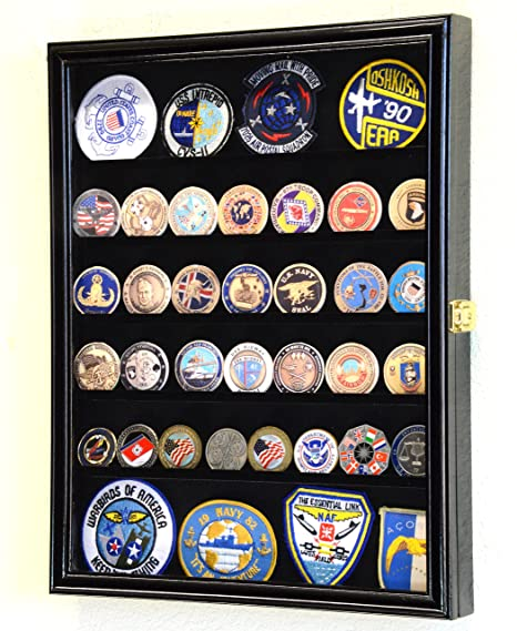 56 Challenge Coin Display Case Cabinet   Fully Adjustable Shelves   Larger Coins   98% Uv Protection (Black Finish) by Sf Display.Com,Llc.
