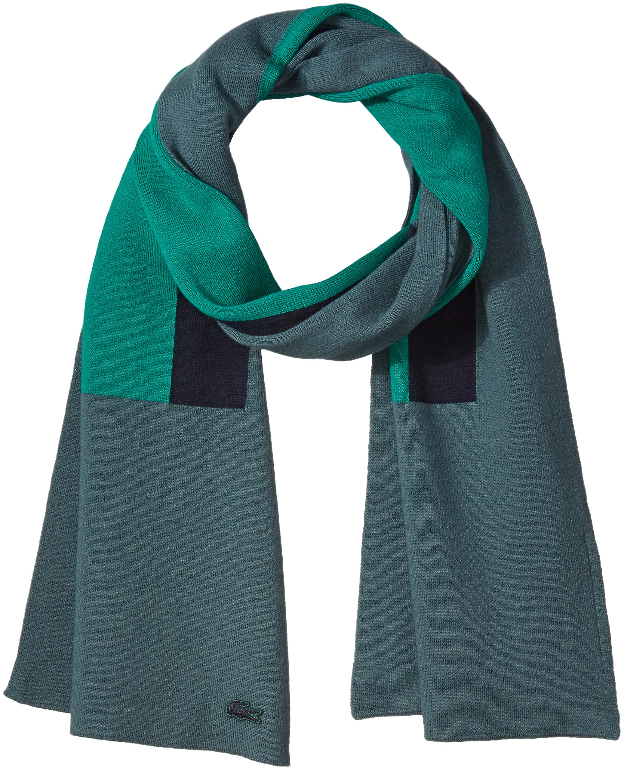 Lacoste Women's Striped Cotton Wool Scarf, Kelp/Chives/Navy Blue, One Size