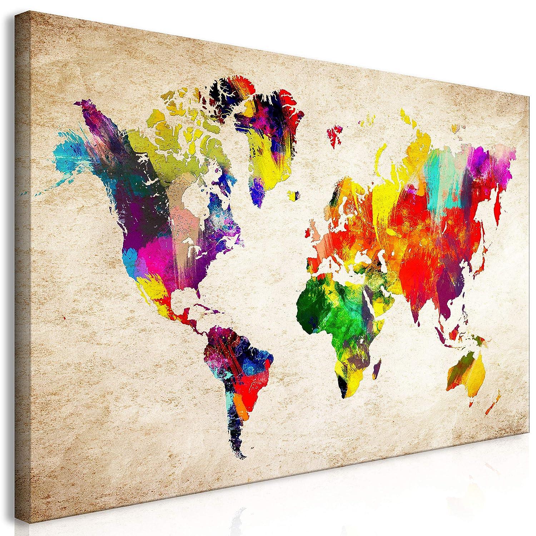 murando Quadro Mappa del Mondo 100x50 cm 5 Pezzi Stampa su Tela in TNT XXL Immagini Moderni Murale Fotografia Grafica Decorazione da Parete Mappa del Mondo Carta Continente k-C-0083-b-m