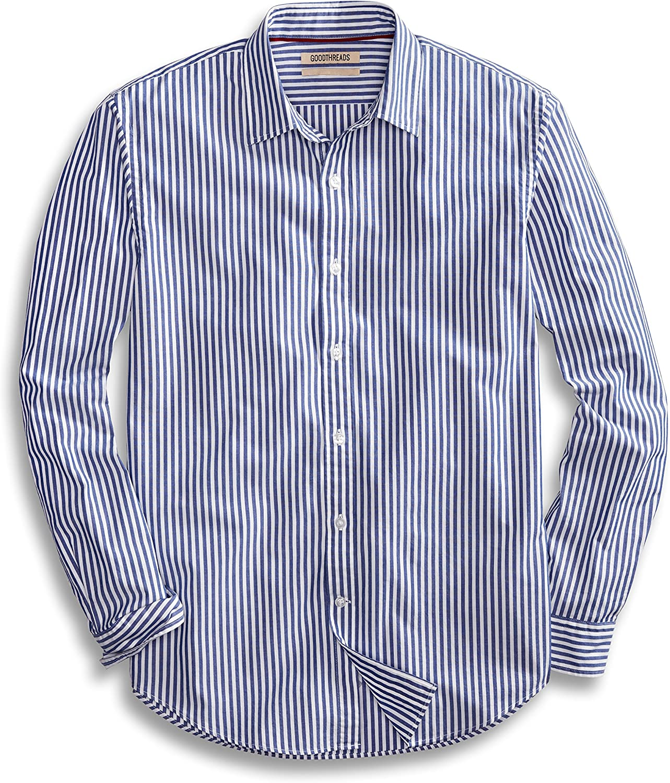 Amazon Brand - Goodthreads Men's Standard-Fit Long-Sleeve Banker Striped Shirt