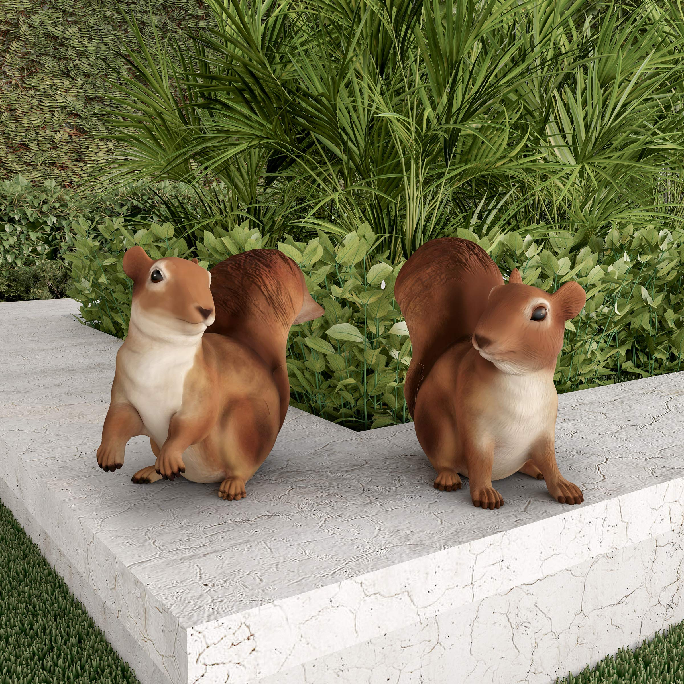 Pure Garden 50-LG1098 Squirrel Statues-Resin Animal Figurines for Outdoor Lawn Decor for Flower Beds, Fairy Gardens, Backyards and More (Set of 2)