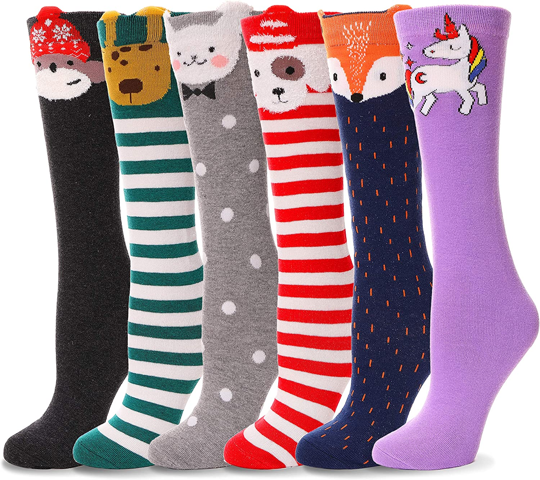SMG/® Kids Girls Plain Knee High School Cotton Rich Socks 6 Pair Pack