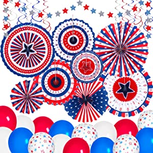 37PCS 4th/Fourth of July Decorations Set - Red White Blue Patriotic Memorial Day Paper Fans + Hanging Swirls + Star Streamer + Balloon Garland Party Decor Supplies