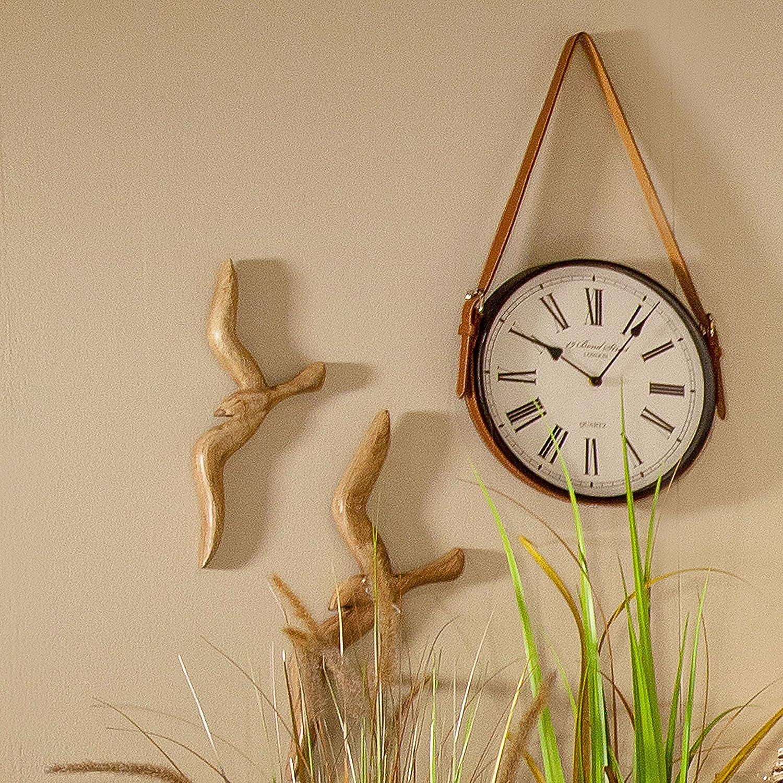2 x Wanddeko V/ögel Holz Natur braun 13x16 cm und 36x46 cm Wandobjekt M/öwen Schwalben Fl/ügel ausgebreitet