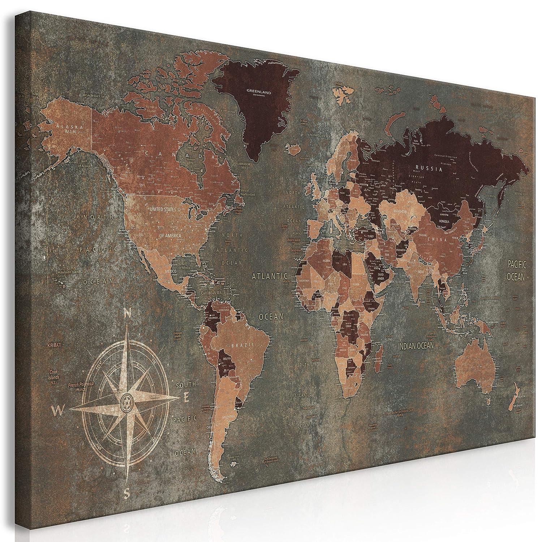 Decomonkey   Mega XXXL Bilder Weltkarte   Wandbild Leinwand 160x80 cm Einteiliger XXL Kunstdruck zum aufhängen   Welt Kontinente braun