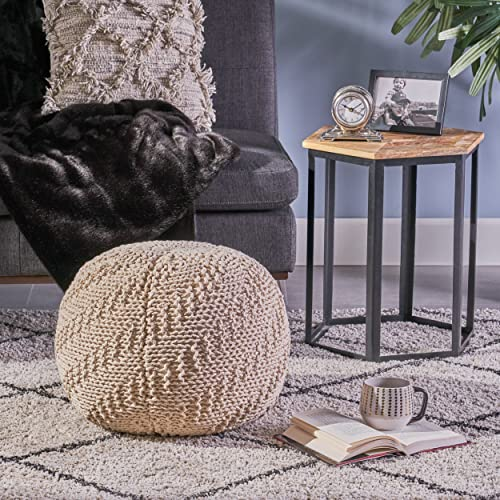 Christopher Knight Home Austin Knitted Cotton Pouf