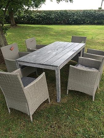 forestfox Garden Driftwood Dining Set.  Rattan Chairs. Li-Lo