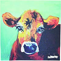 Creative Co-op DA2249 Casual Country Canvas Art with Cow, 12-Inch Square