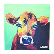 Creative Co-Op DA2249 Canvas Wall Décor with Cow Image