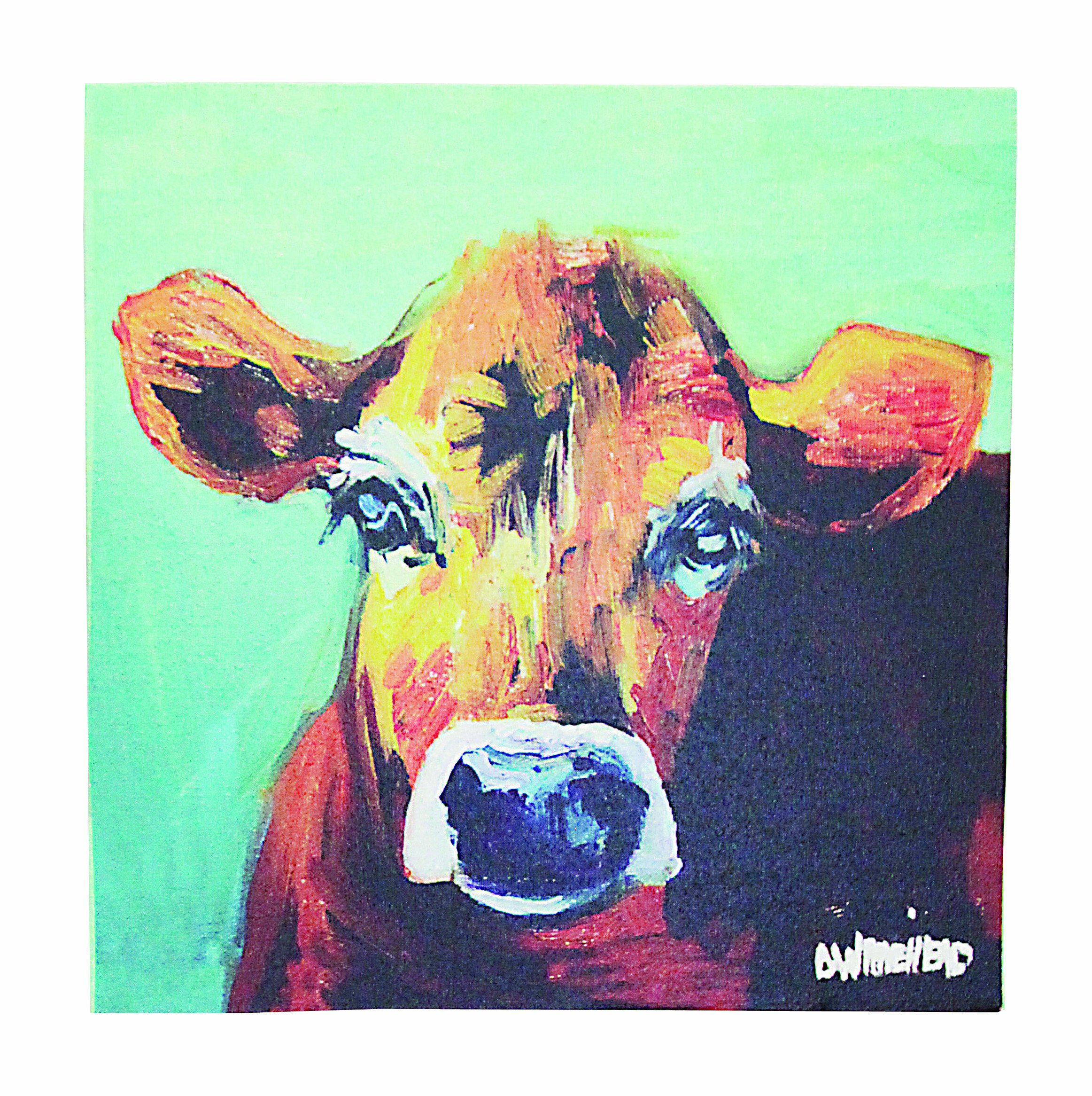 Creative Co-Op DA2249 Canvas Wall Décor with Cow Image - Made with canvas 2 saw tooth hangers on back Wipe clean with a dry cloth - wall-art, living-room-decor, living-room - A1KJonwDCYL -