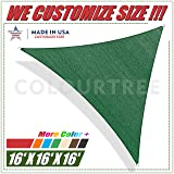 ColourTree 16' x 16' x16' Sun Shade Sail Triangle Green Canopy Awning Shelter Fabric Cloth Screen - UV & Water Resistant Heavy Duty Commercial Grade Outdoor Patio Carport (Custom Size Available)