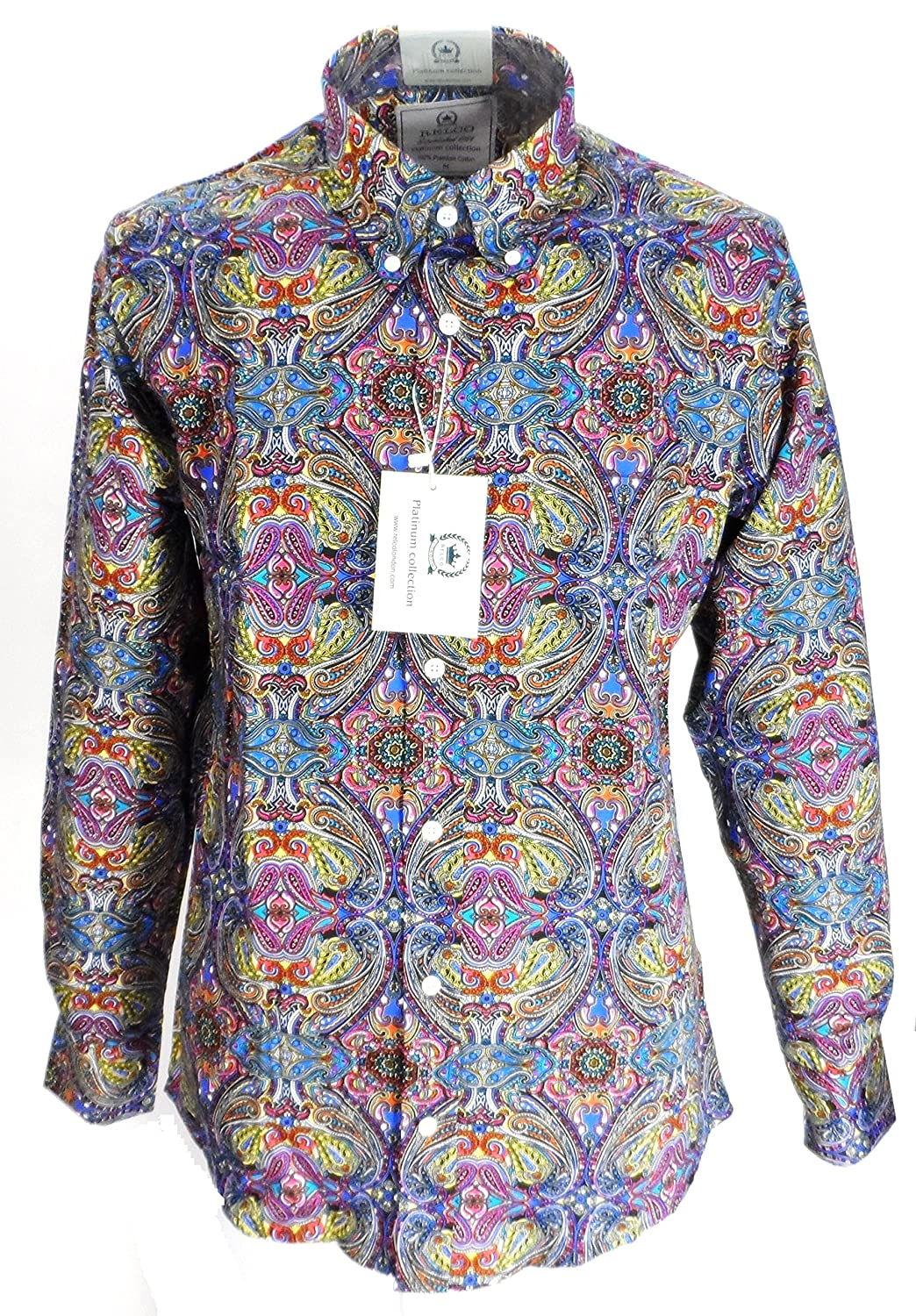 98fc160a812a Vintage Shirts – Mens – Retro Shirts Relco Mens Platinum Multi Paisley Long  Sleeved Retro Button