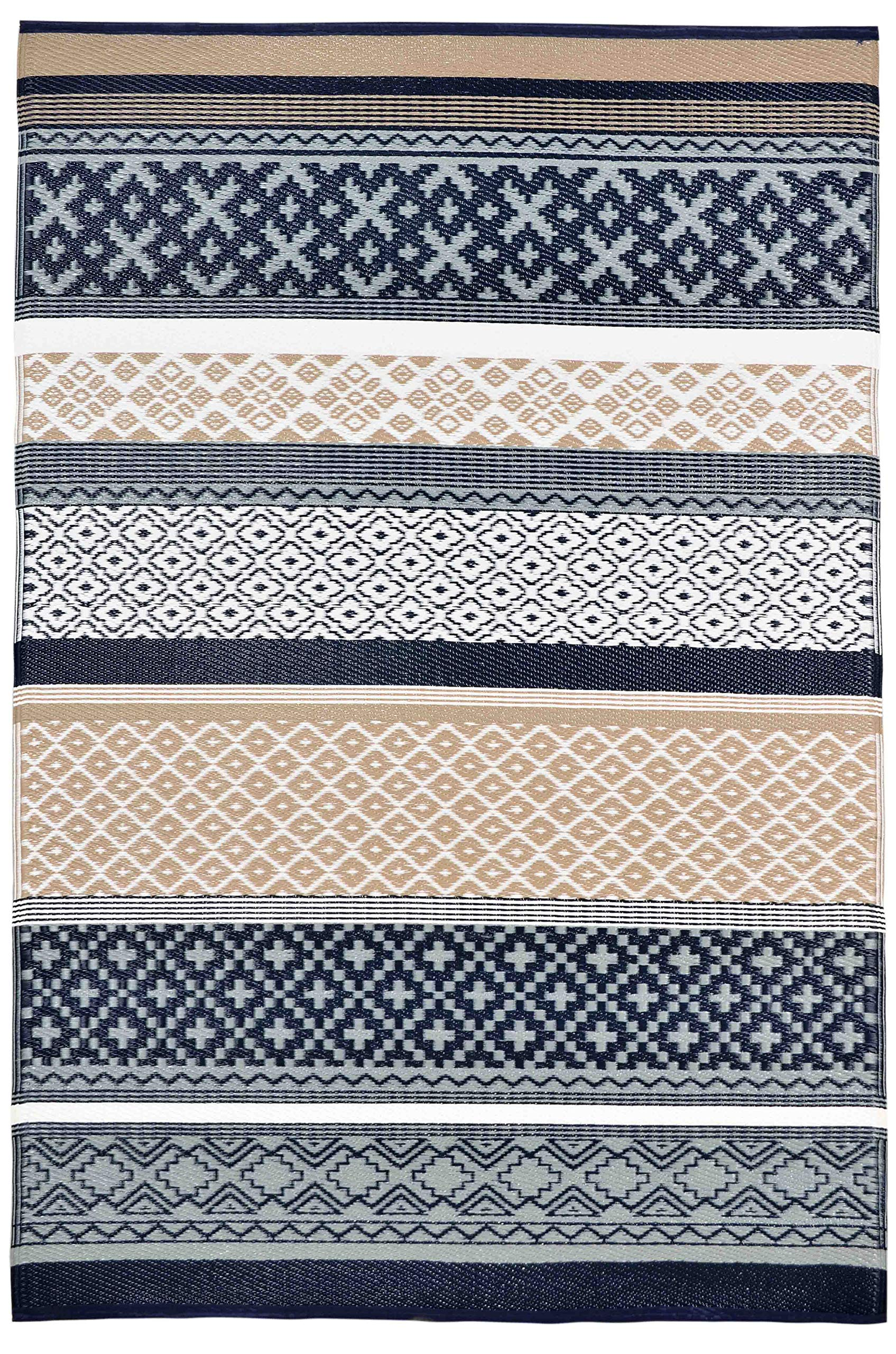 Lightweight Outdoor Reversible Durable Plastic Rug (8x10, Prime Navy/Taupe)