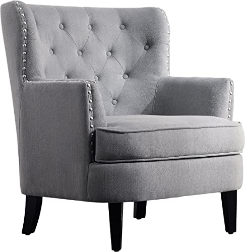 Rosevera Gustavo Collection Fabric Nailhead Club, Contemporary Accent Chairs, Light Gray