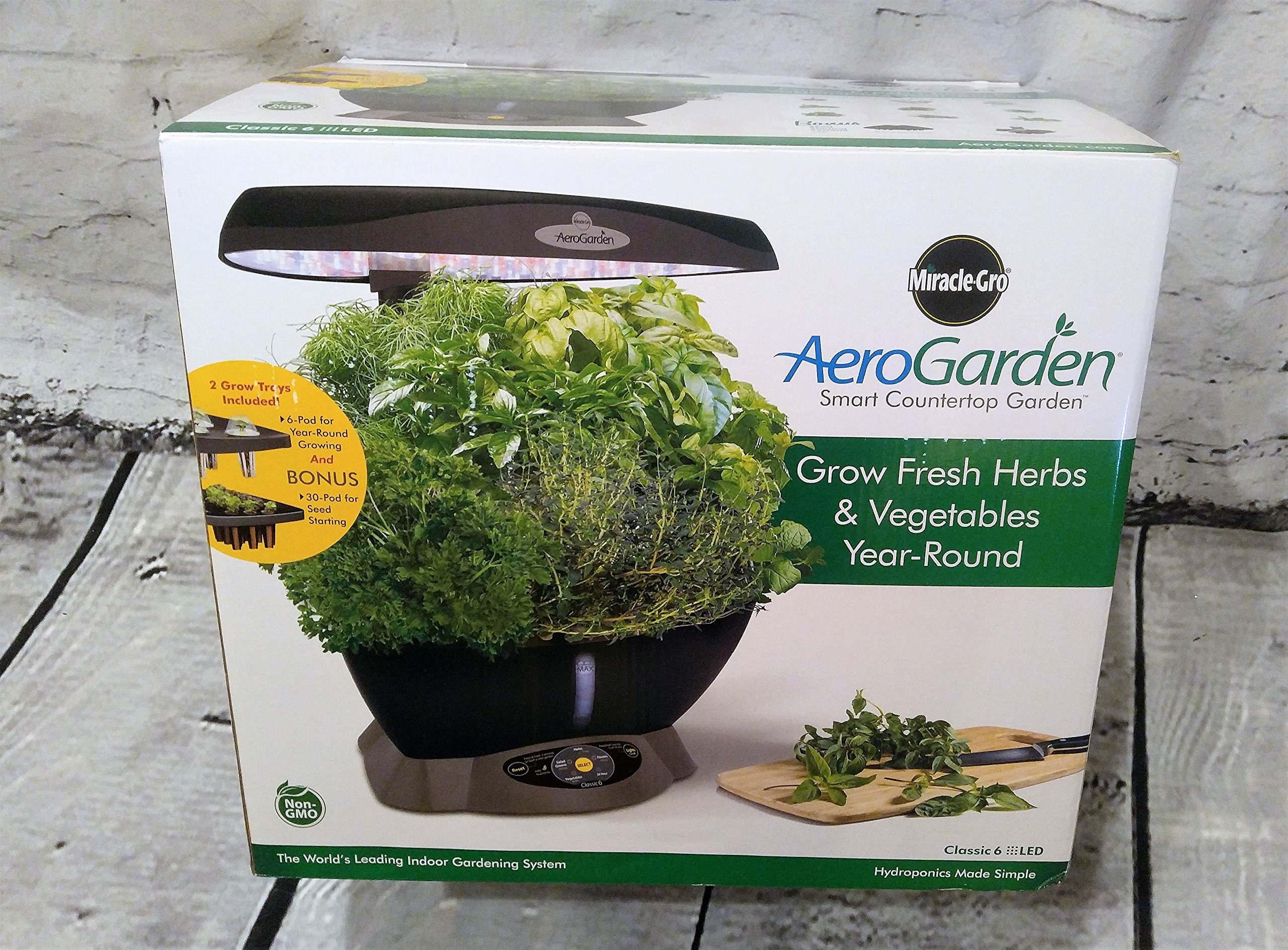 Aerogarden Miracle-Gro Classic 6 with Gourmet Herb Kit and Bonus Seed Starting System Second Tray by Aerogarden Smart Countertop Garden