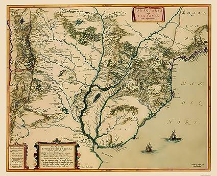 Amazon.com: Old South America Map - Southern Coast South America ...