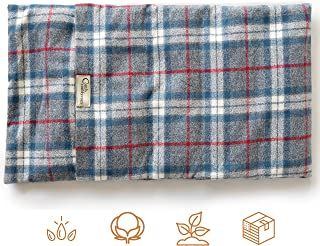 """product image for ComfyComfy Microwaveable Organic Flaxseed Heating Pad with Washable Case 21"""" x 11"""", Made in USA, Blue Plaid"""