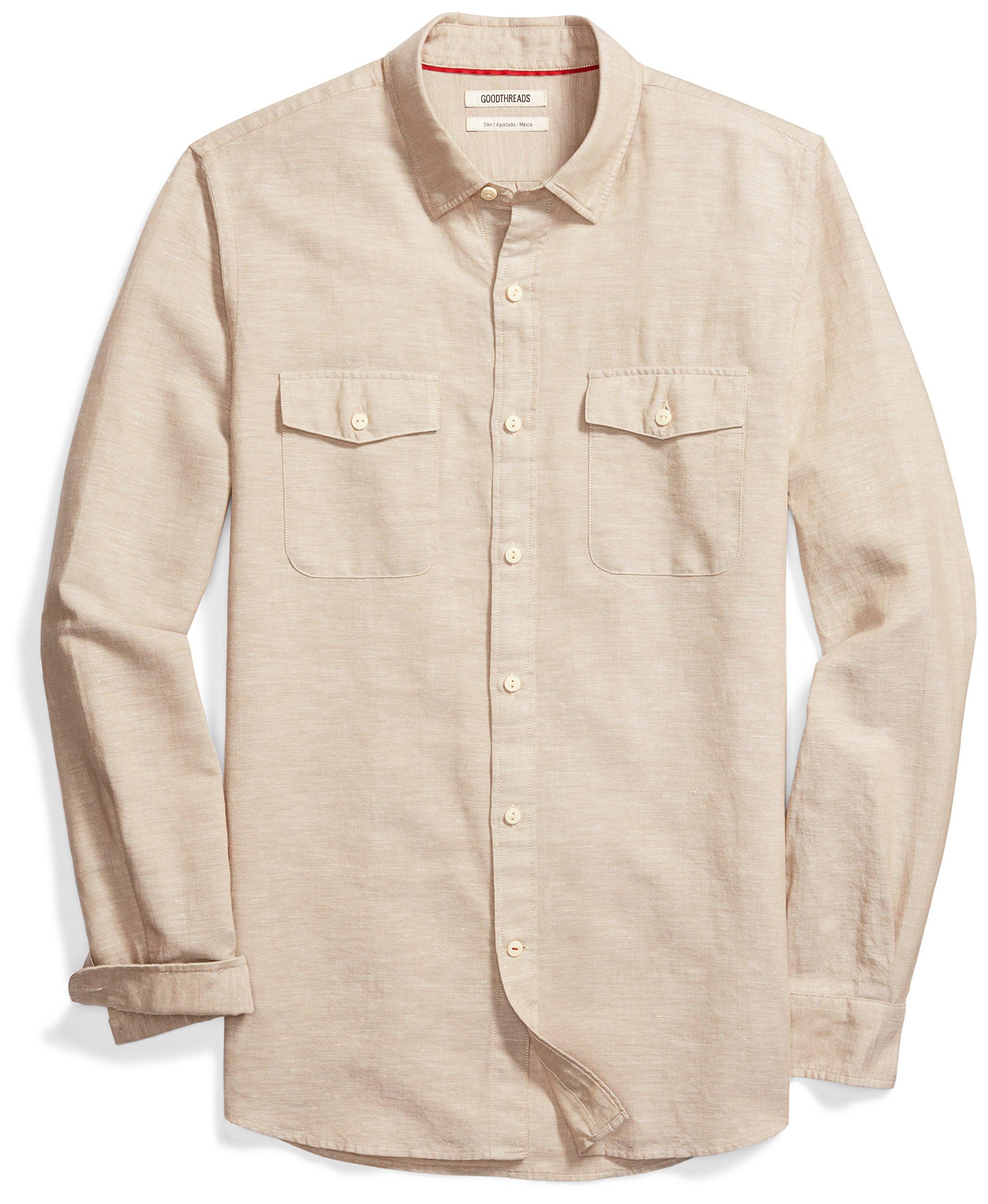 Goodthreads Men's Slim-Fit Long-Sleeve Linen and Cotton Blend Shirt, Khaki, Large