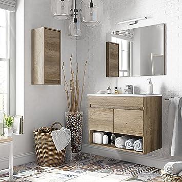 Miroytengo Pack Mobiliario Baño Con Mueble Espejo Lavabo De