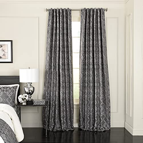Beautyrest Normandy Jacquard Single Window Panel, 52 x 108 , Pewter