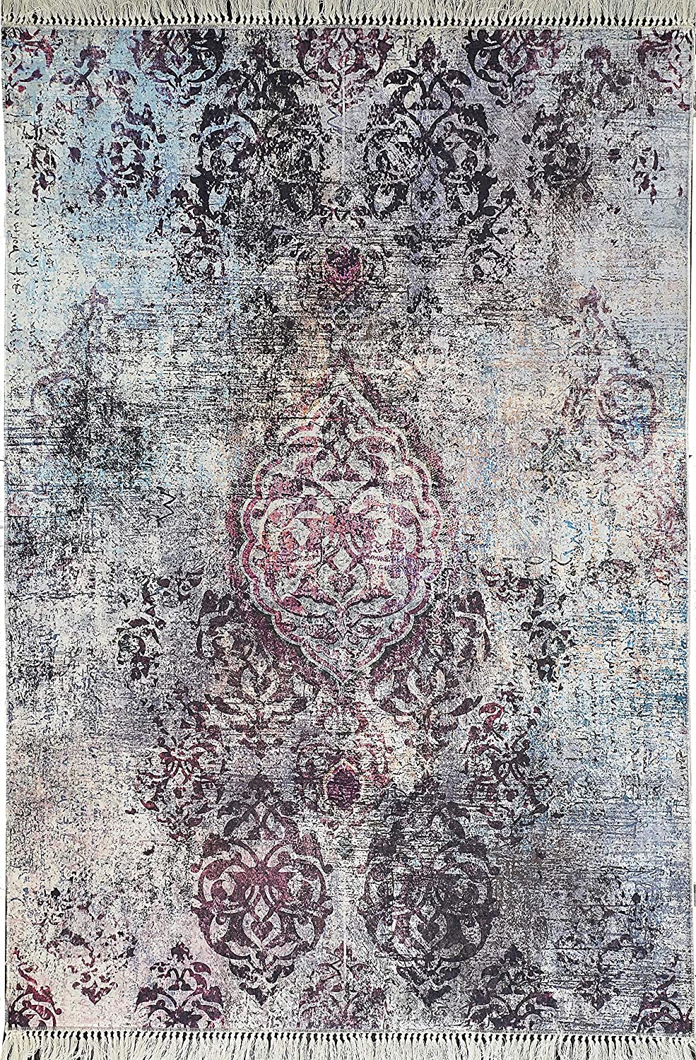 Benissimo Printed Modern Design Area Rug, Soft and Durable, Living Room, Dining Room, Kids Room and Kitchen 5x8 Leather Back   Ashen