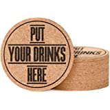 """Coasters - Coaster Set - Cork Coasters - Coasters for Drinks - 10 pcs Absorbent Coasters for Man Woman Kids - Beer Glass Wine Cup Hot Cold Drinks - Home Bar Table Cute Funny 4"""" Round Coasters"""