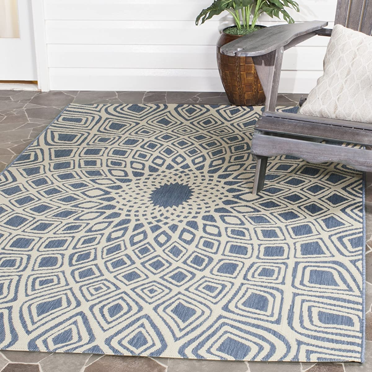 """Safavieh Courtyard Collection CY6616-23321 Blue and Beige Indoor/ Outdoor Square Area Rug (67"""" Square)"""