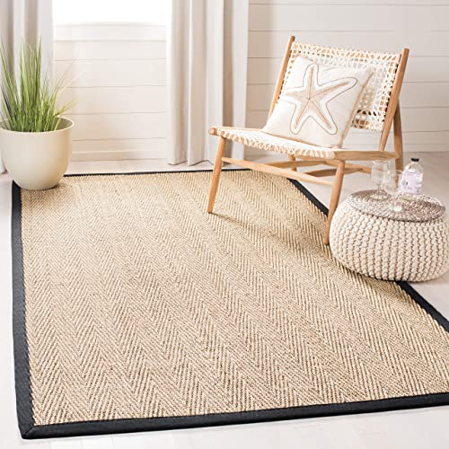 Safavieh Natural Fiber Collection NF115C Herringbone Seagrass Area Rug, 5 x 8 , Natural Black