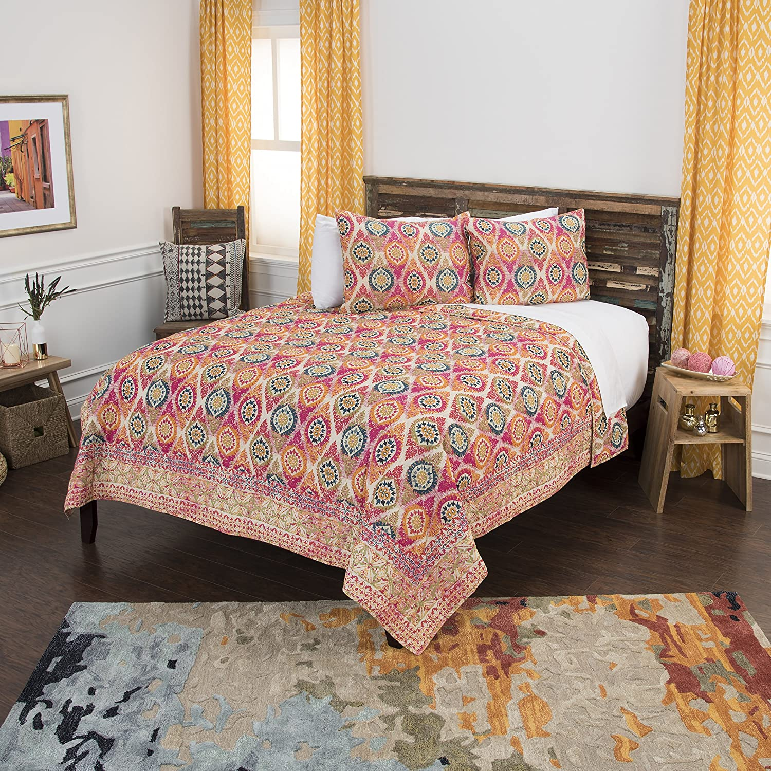Rizzy Home Maddux Place Serendipity Geometric 2 Piece Quilt Set, Twin X-Large, Pink