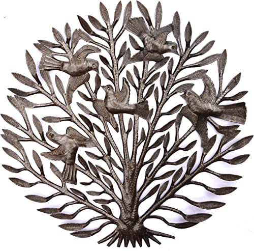 Silhouette Haitian Tree of Life Wall Plaque, Decorative Metal Tree with Birds, Wall Hanging Art, Indoor or Outdoor Decor, Handmade in Haiti, NO Machines Used, 23 in. x 23 in. Fall Garden Tree
