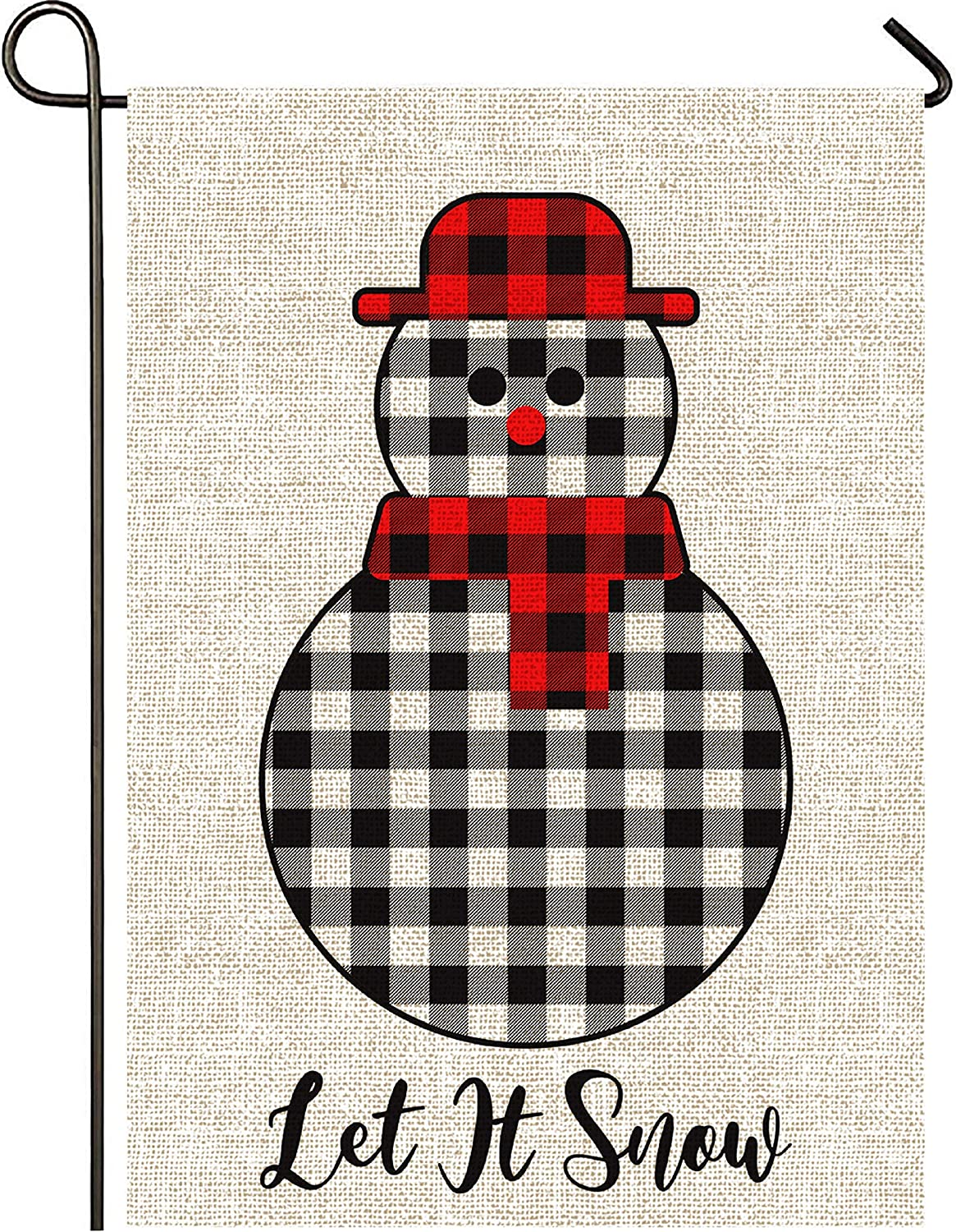 Mogarden Winter Snowman Christmas Garden Flag, Double Sided, 12.5 x 18 Inches, Burlap Small Let It Snow Yard Flag