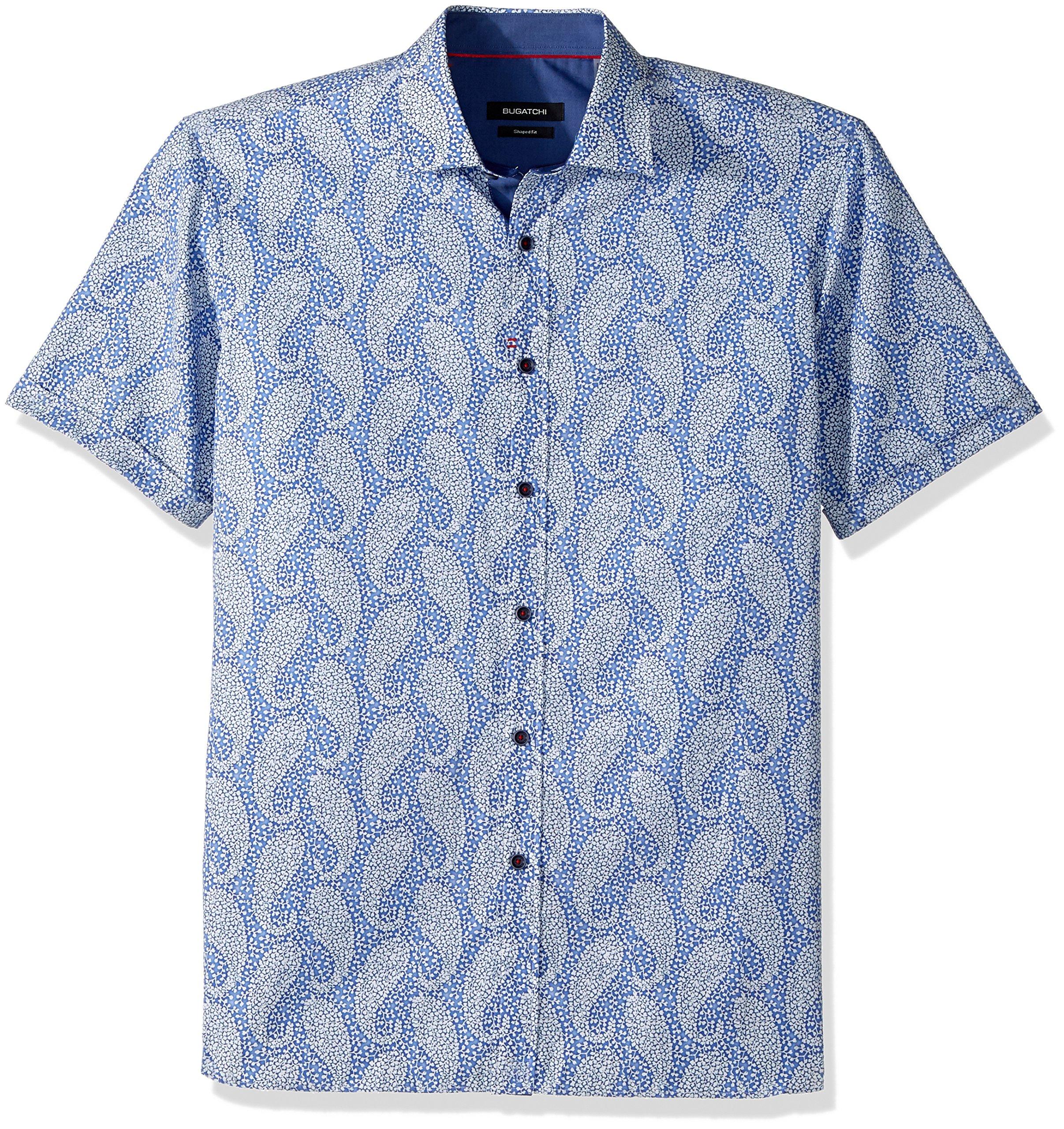 BUGATCHI Men's Fine Cotton Shaped Fit Point Collar, Classic Blue, M