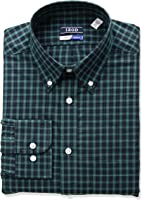 IZOD Men's Regular-Fit Plaid Button-Down Collar Dress Shirt