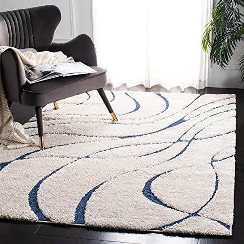 Safavieh Florida Shag Collection SG471-1165 Cream and Blue Area Rug 6 x 9